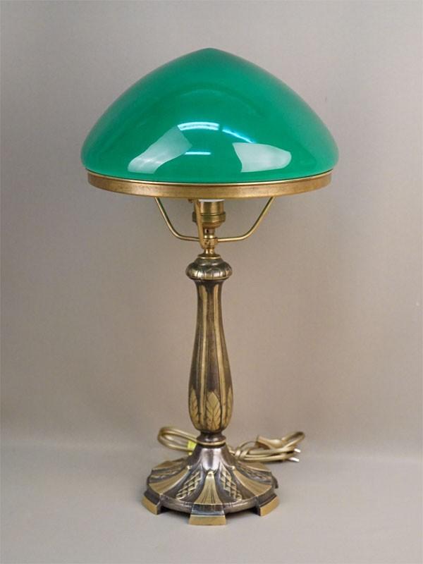 Лампа настольная с зеленым абажуром, бронза, стекло, 52 × 28см