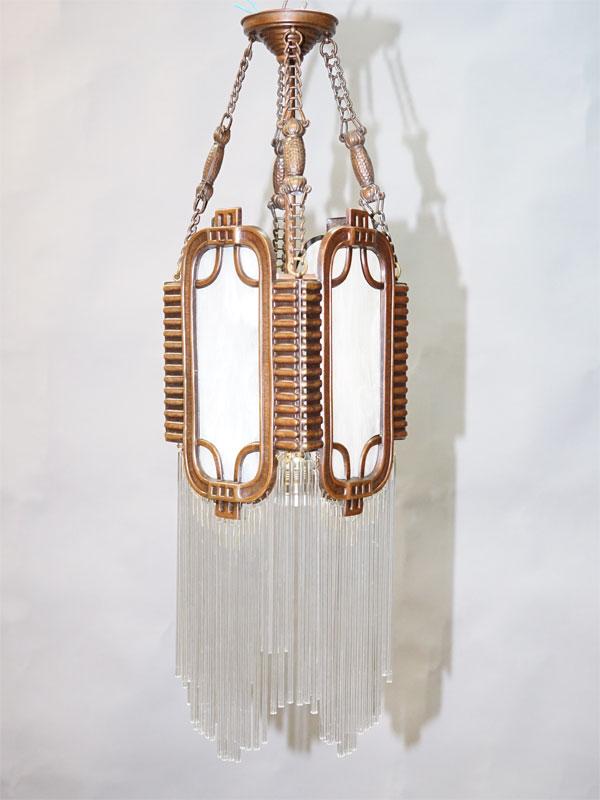 Фонарь в стиле модерн, латунь медненая, опаловое стекло, подвески, начало ХХ века, 1 световая точка (стандартный патрон Е-27), размер — 70 × 18см