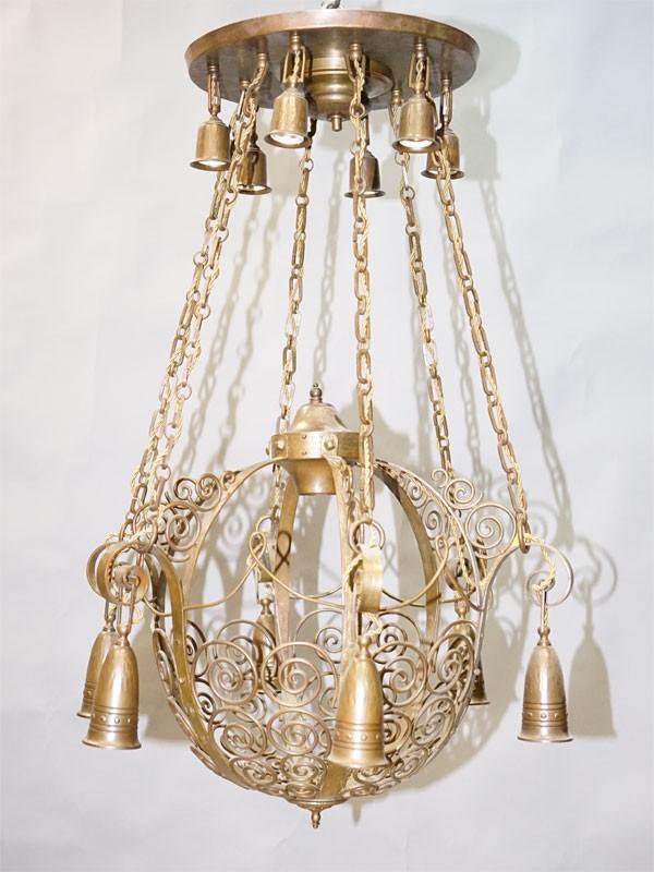 Люстра в стиле модерн, бронза, латунь, 13 световых точек (стандартный патрон Е-27), размер —  92 × 54см