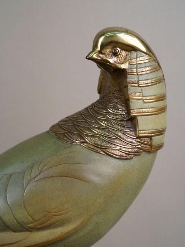Скульптура в стиле ар-деко «Фазан», бронза, патинирование, холодное окрашивание; постамент камень. Автор Kelety, длина 51см
