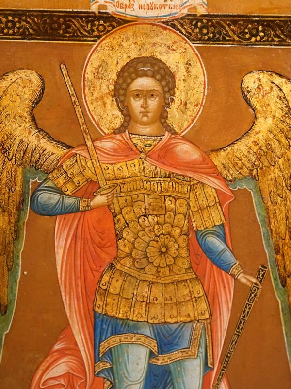 Икона «Святой Архангел Михаил», дерево, левкас, темпера, золочение. Сызрань, конец XIX века, 34,5 × 31см