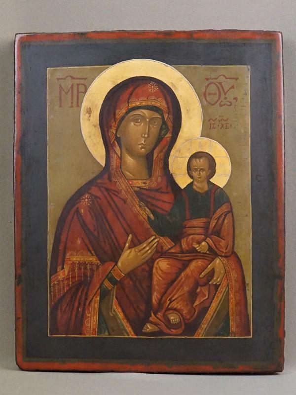 Икона «Пресвятая Богородица Смоленская», дерево, левкас, темпера, золочение, конец XIX века, 30,5 × 24см