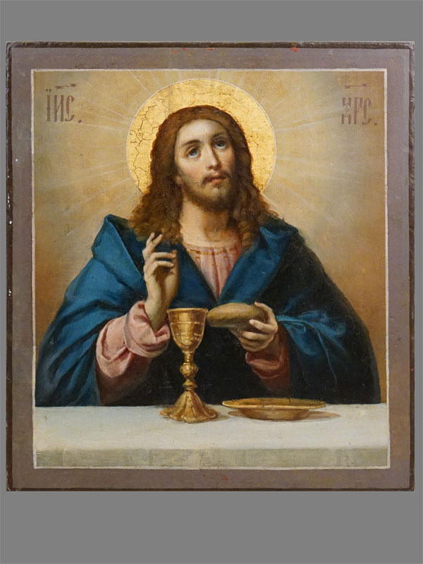 Икона «Спаситель благословляющий хлеб и вино», дерево, масло, сусальное золото,  37  × 32см.  На обороте  иконы надпись: «Пис. Жив. Г. Переславля И.С. Павлов»