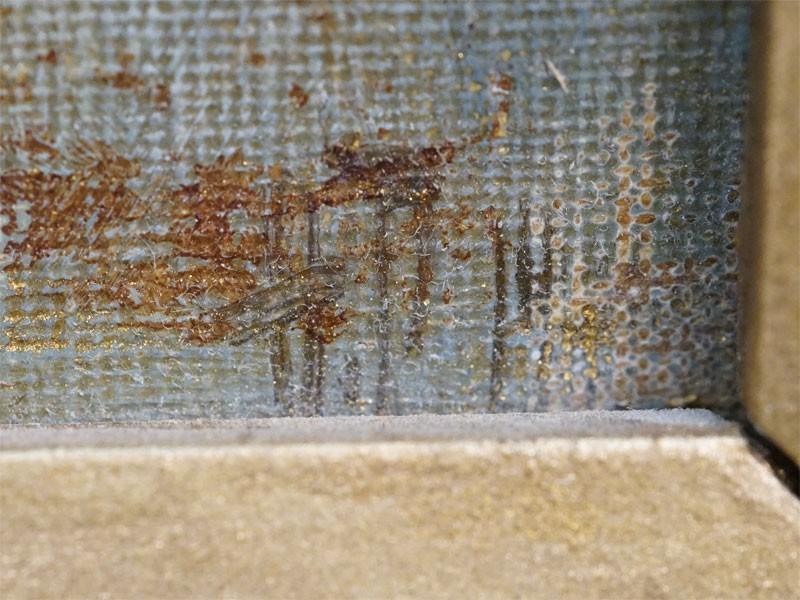 Картина в раме. Ф.Рерберг, «Берег реки с лодками», холст на картоне, масло, 23 × 28,5см  1900-е годы