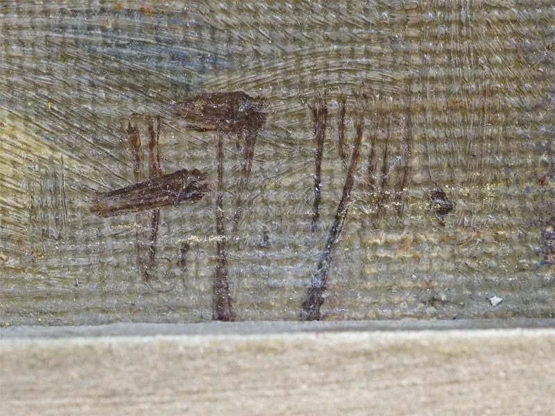 Картина в раме. Ф.Рерберг, «Домики в лесу», холст на картоне, масло, 21,3 × 27,7см, 1901 год.