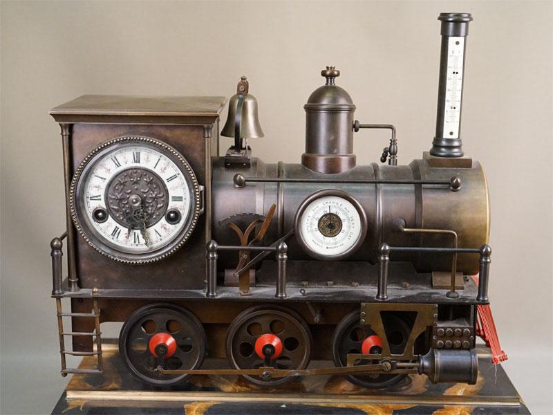 Часы  в индустриальном стиле «Паровоз», бронза, камень, длина 47см