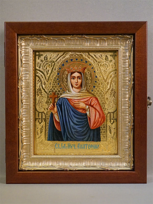 Икона в киоте «Святая Великомученица Екатерина», дерево, масло, золочение, 18 × 14,5см. Москва, конец XIX века