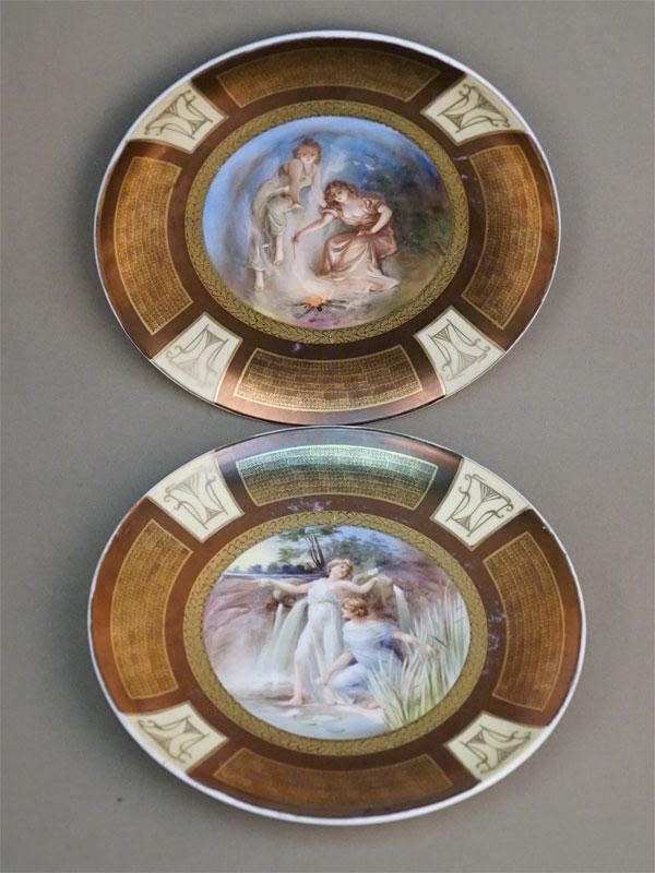 Тарелки парные в стиле модерн, фарфор, деколь, золочение. Западная Европа, конец XIX – начало XX века, диаметр 25см