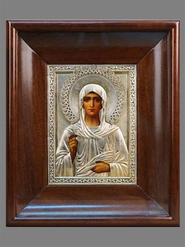 Икона в киоте «Святая Мученица Зоя», живопись на цинке, оклад серебро 84 пробы, клеймо «Морозов», 1899-1908 годы, 18 × 13,5см