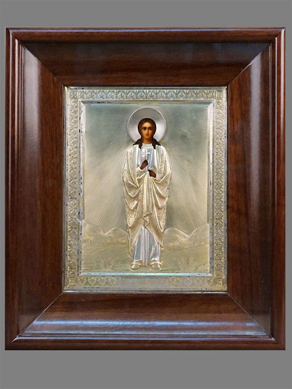 Икона в киоте «Святая Мученица Вера», дерево, масло, оклад серебро 84 пробы. Москва, 1-я Артель, 1908-1917 годы, 22,5 × 18см