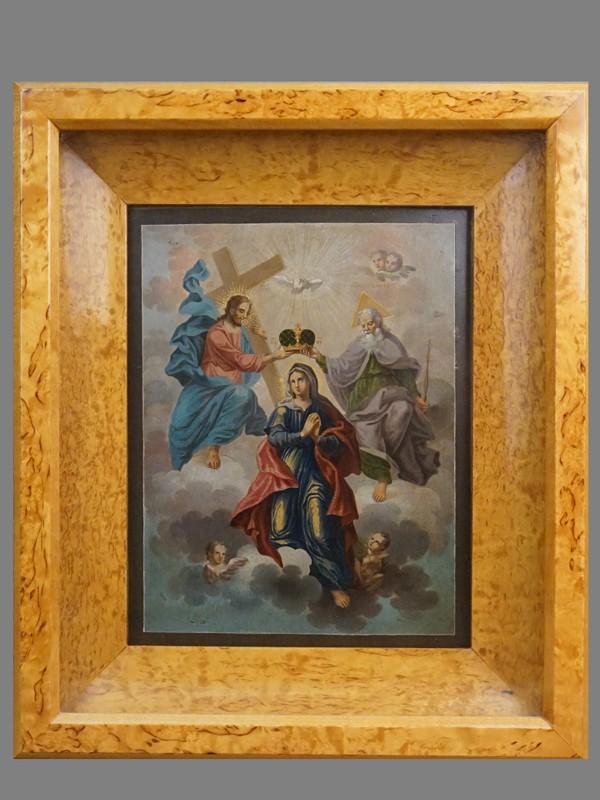 Икона в киоте «Коронование Пресвятой Богородицы», дерево, темпера, начало XIX века, 23,5 × 18,5см