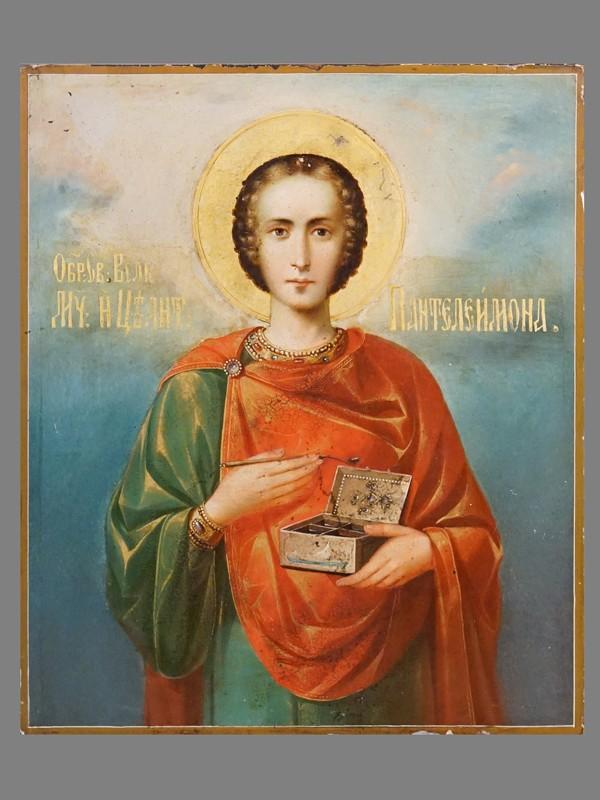 Икона «Святой Великомученик Пантелеймон», дерево, масло, золочение. Афон, XX век, 31 × 26,3см