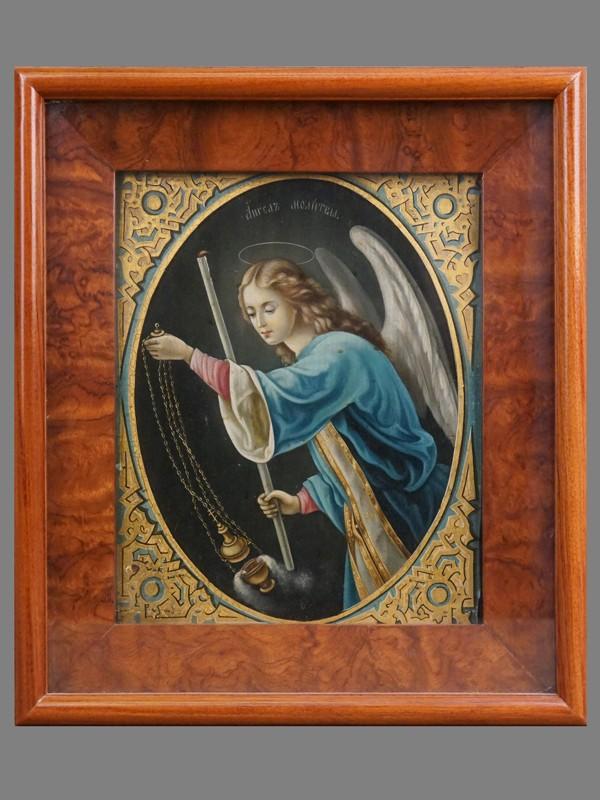 Икона в киоте «Ангел Молитвы», дерево, масло, конец XIX века, 26 × 21см