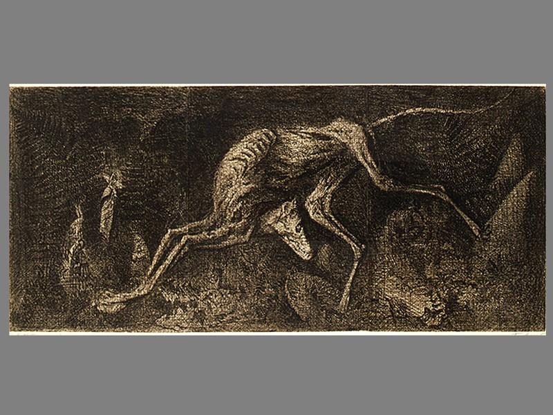 Д. Плавинский, «Бегущая в темноте», бумага, офорт. В раме под стеклом. Москва, 1971 год, 65 × 165 см. Подпись в правом нижнем углу.