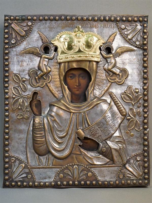 Икона «Святая Мученица Параскева Пятница», дерево, левкас, темпера, оклад латунь, серебрение, XIX век, 31 × 26см