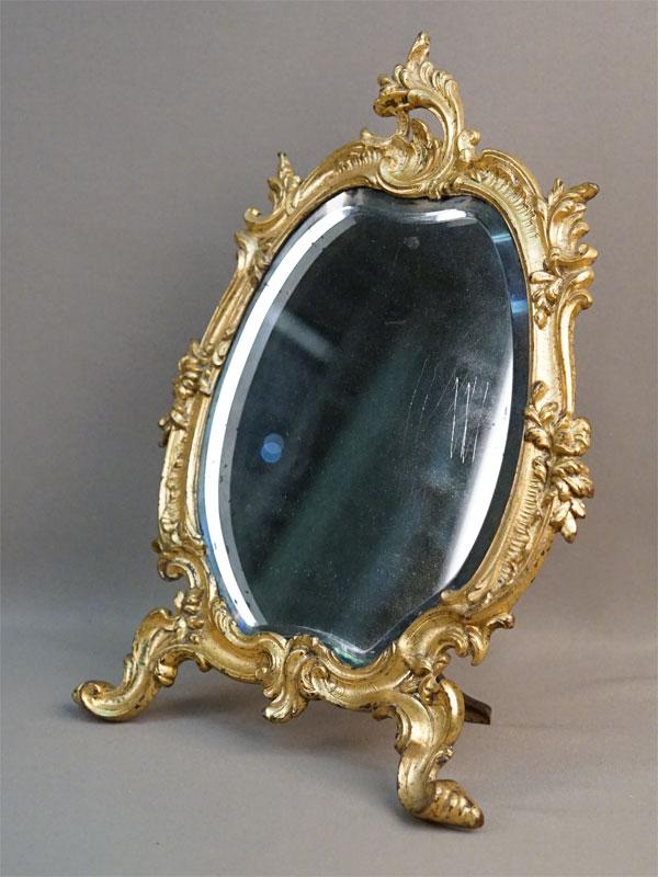 Зеркало настольное, бронза, золочение, 32 × 24см