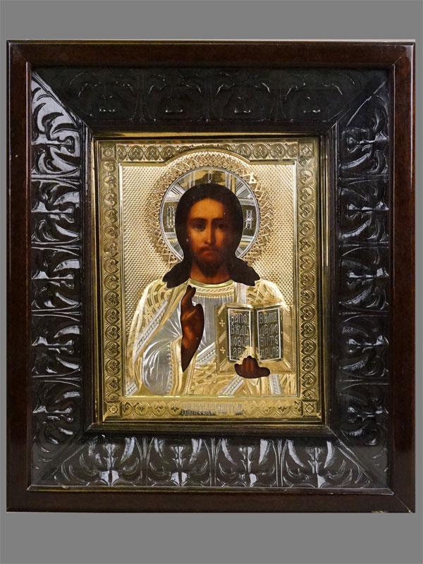 Икона в киоте «Господь Вседержитель», дерево, масло, оклад серебро 84 пробы, золочение. Конец XIX века, 22,5 × 17,5см