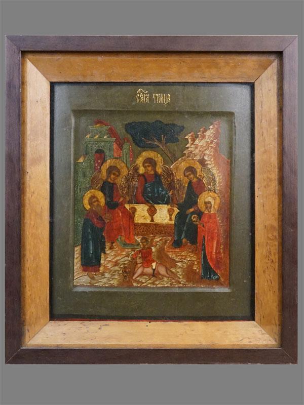 Икона в киоте «Святая Троица», дерево, левкас, темпера, золочение, XIX век, 30 × 25,5см