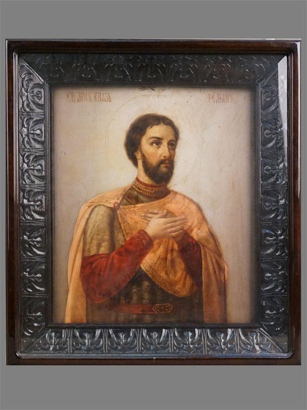 Икона в киоте «Святой Мученик князь Роман», дерево, масло, XIX век, 35 × 30см