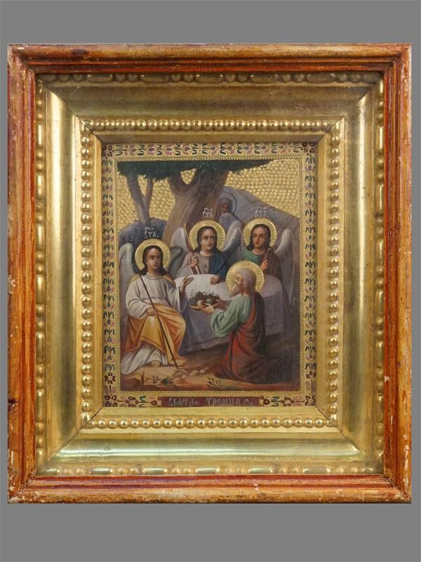 Икона в киоте «Святая Троица», дерево, масло, золочение, конец XIX века, 26,6 × 21,7см