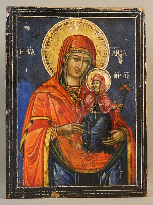 Икона «Святая Праведная Анна», дерево, левкас, темпера, золочение, XIX век, 21,5 × 16см