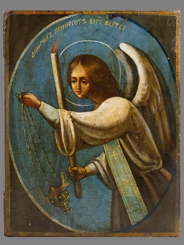 Икона «Святой Ангел Молитвы» (по мотивам картины Т. Неффа), дерево, масло, 22,2 × 17,4см. Центральная Россия,  конец XIX века