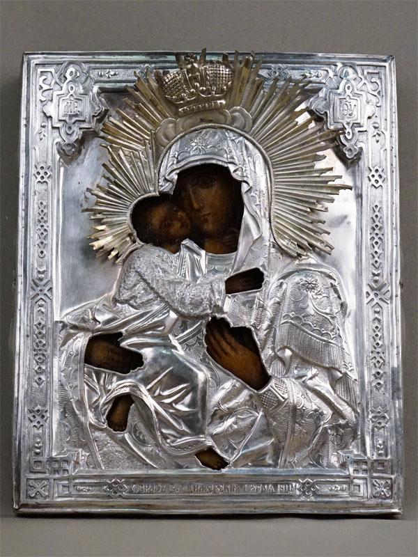 Икона «Пресвятая Богородица Владимирская», дерево, масло, 24,5 × 20см; оклад серебро 84 пробы, 1874 год