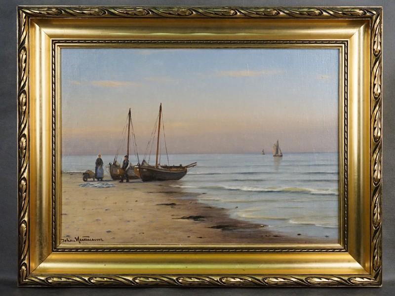 Картина в раме. Neumann Johan Fens (1860-1940), «Рыбаки с уловом», холст, масло, 34 × 49см