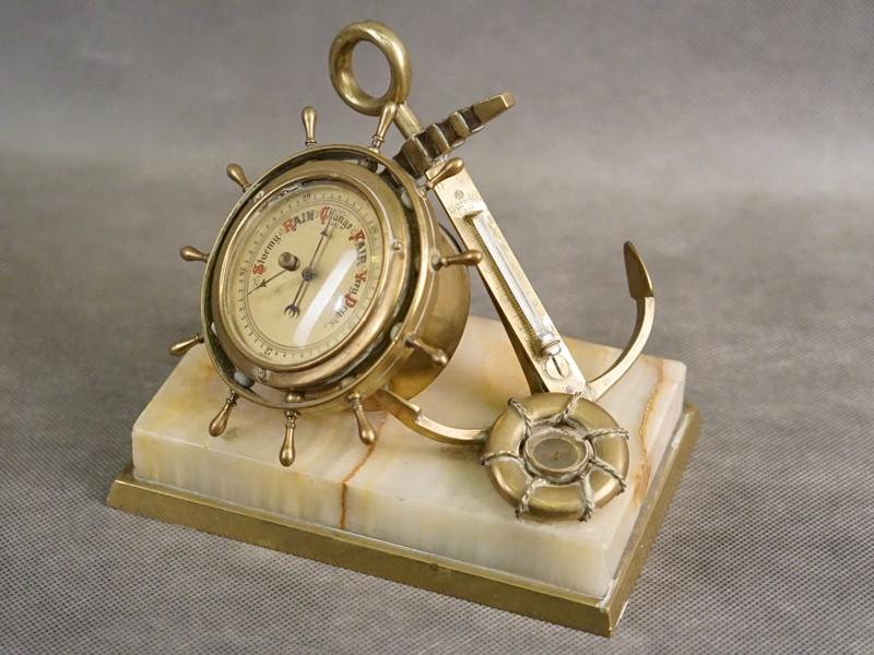 Настольный барометр с термометром и компасом «Якорь», бронза, оникс. Западная Европа, начало XX века, 17,5 × 11см