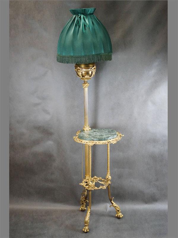 Торшер в стиле историзм, бронза, мрамор, конец XIX века. Размер  —  129 × 47см