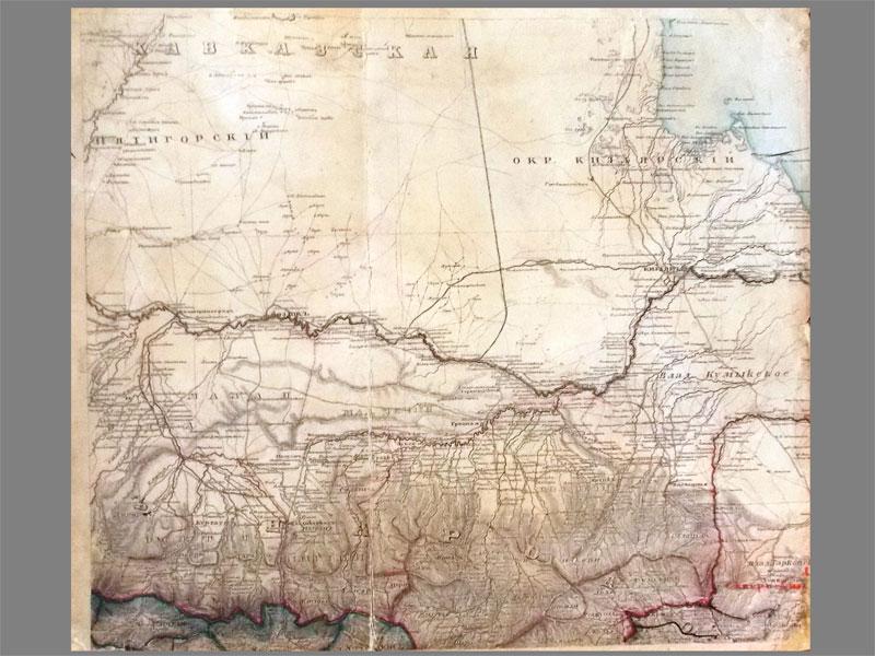 Карта части Северного Кавказа (Российская Империя) от Екатеринограда и Моздока до Кизляра, с Северной Осетией и Чечней. 36 × 41 см.