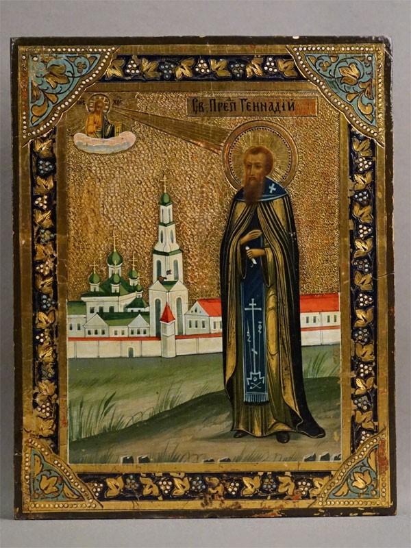 Икона в киоте «Святой Преподобный Геннадий», дерево, левкас, темпера, сусальное листовое и твореное золото, холодные эмали, конец XIX века, 22,2 × 17,8см