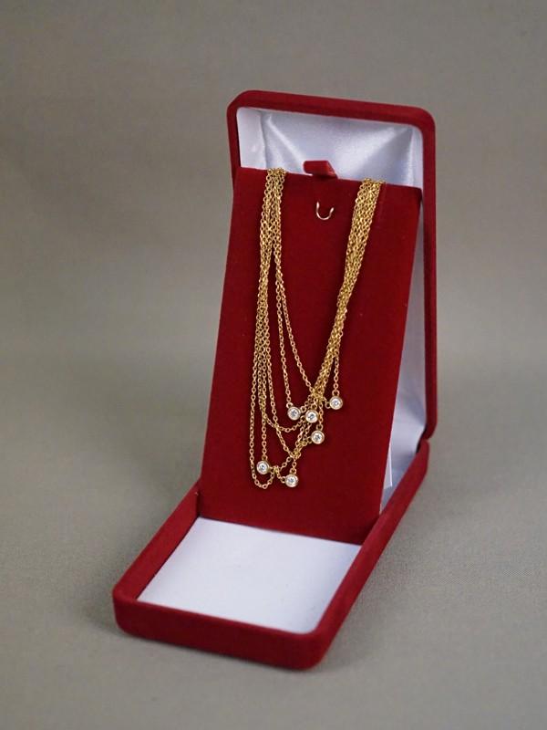 Колье многоярусное, золото по реактиву, общий вес 16,73г. Вставки: 6 бриллиантов (Кр57 – 0,44ct 4/4)