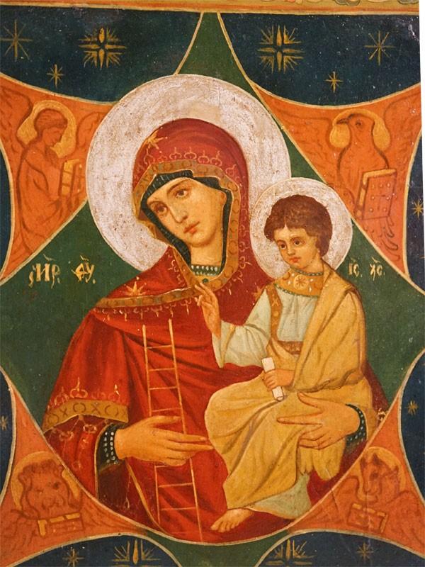Икона в киоте «Пресвятая Богородица Неопалимая Купина», дерево, масло, стиль модерн, конец XIX – начало XX века, 30 × 26,5см