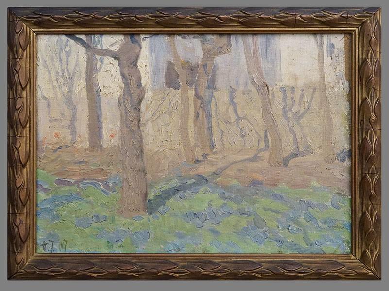 Картина в раме. Ф.Рерберг, «Деревья, освещенные солнцем», холст на картоне, масло, 25,5 × 33,0см, 1907 год