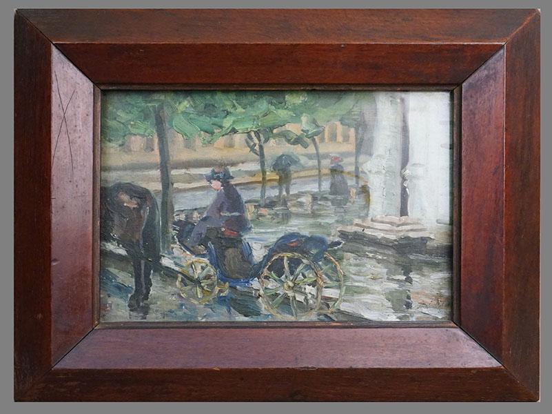 Картина в раме. К. Клюк, «Городской пейзаж», холст на картоне, масло, 22,5 × 31,0см, 1912 год