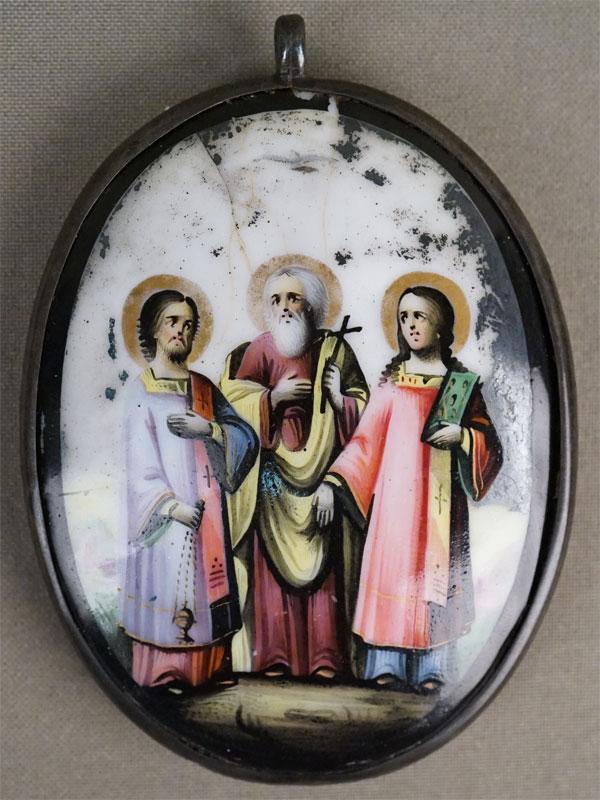 Икона «Святые Мученики Самон, Гурий и Авив», серебро по реактиву, финифть, 8,5 ×  6,5см