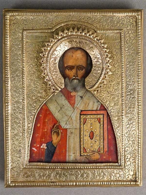Икона «Святой Николай Чудотворец», дерево, левкас, темпера, золочение, оклад латунь, 11 × 9см