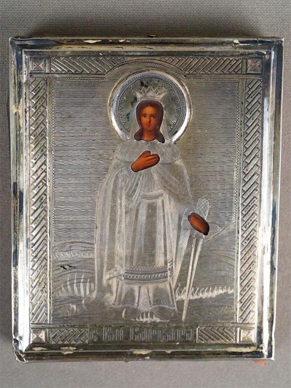 Икона «Святая Великомученица Варвара», дерево, масло, оклад серебро 84 пробы, 1889 год, 9 × 7,7см