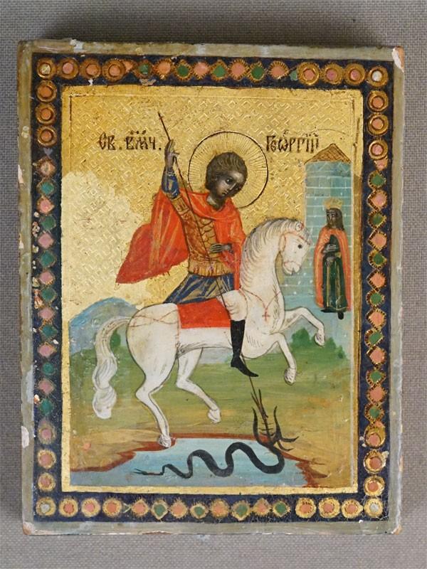 Икона «Святой Великомученик Георгий Победоносец», дерево, левкас, темпера, золочение, XIX век, 9 × 7см