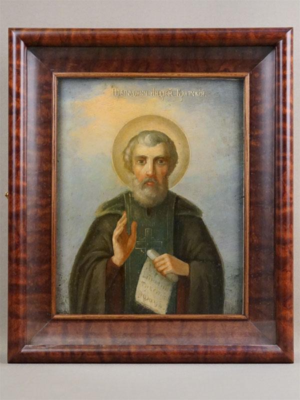 Икона в киоте «Святой Андрей Критский», дерево, масло, конец XIX века, 30,5 × 24,5см