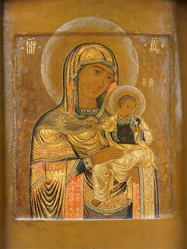 Икона в киоте «Пресвятая Богородица Коневская», дерево, левкас, темпера, золочение, XIX век, 31,2 × 25,5см