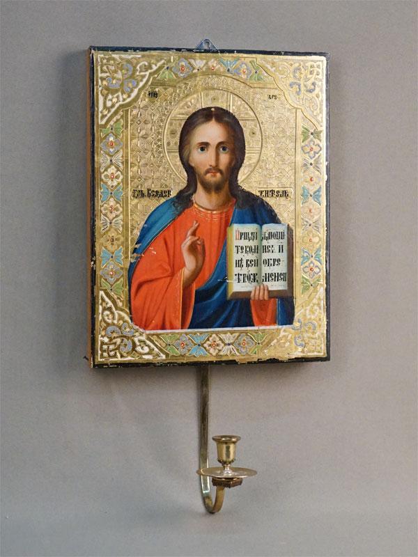 Икона «Господь Вседержитель», дерево, смешанная техника, золочение, конец XIX века, 22,5 × 17,5см; подсвечник латунь