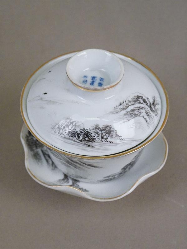 Гайвань (чашка для заваривания чая), фарфор, роспись, золочение. Китай, середина XX века