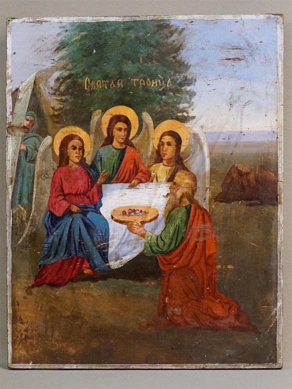 Икона «Святая Троица», дерево, масло, XIX век, 36 × 28см (реставрация)