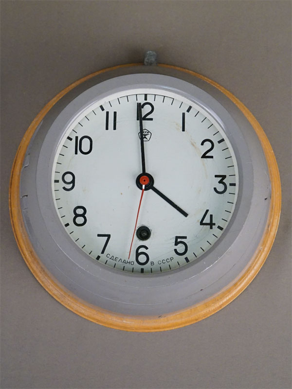 Часы морские, дерево, металл, диаметр 22см. СССР, середина XX века