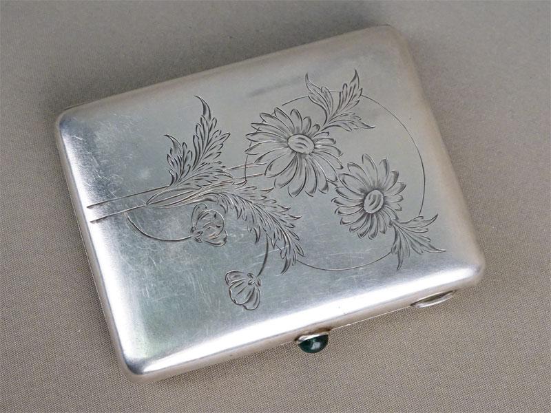 Портсигар, серебро 875 пробы, гравировка, золочение внутри, общий вес 150,44г., 10,5 × 8см