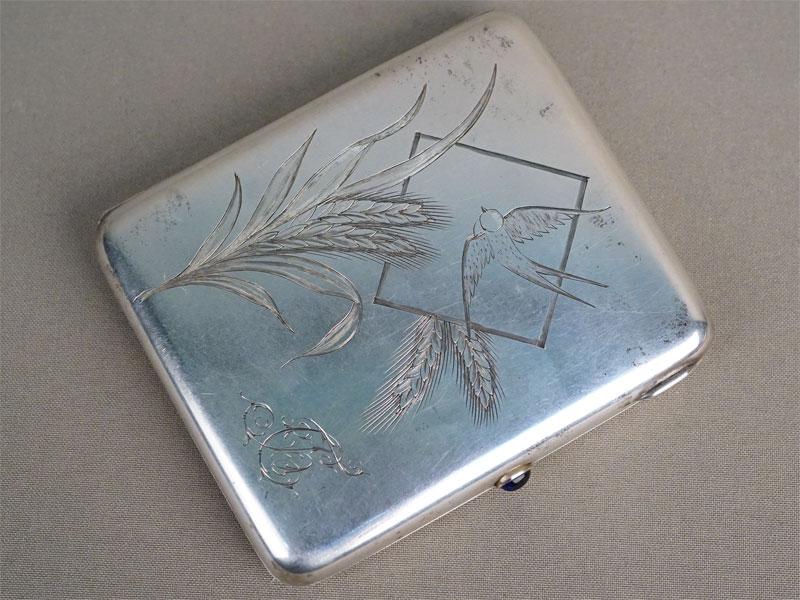 Портсигар, серебро 875 пробы, гравировка, золочение внутри, общий вес 178,7г., 10,5 × 9см