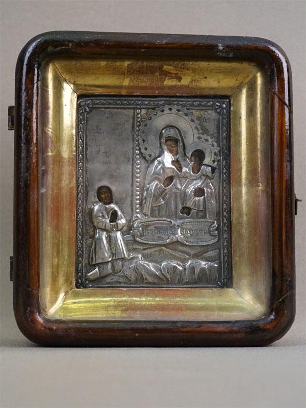 Икона в киоте «Пресвятая Богородица Нечаянная Радость», дерево, темпера, оклад серебро 84 пробы, 10,8  ×  8,5см, XIX век