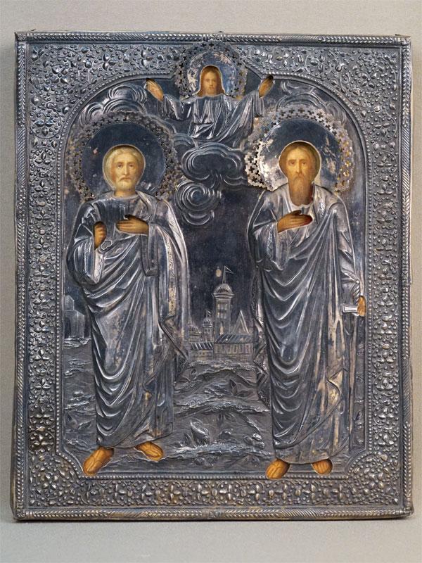 Икона «Святые Апостолы Петр и Павел», дерево, левкас, темпера, 27 × 22,2см. Оклад серебро 84 пробы, Москва, 1886 год